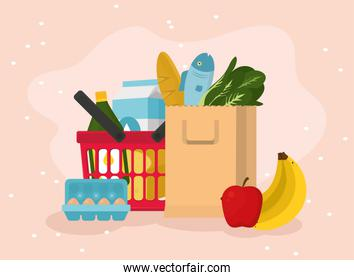 Grocery shopping basket and food