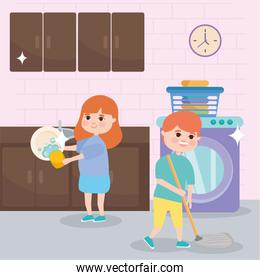 girl and boy cleaning