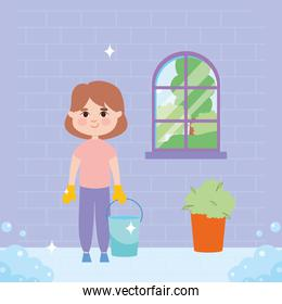 girl with bucket cleaning