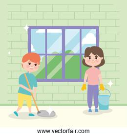 girl and boy mopping