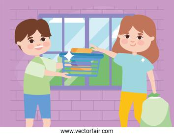 girl and boy with laundry basket