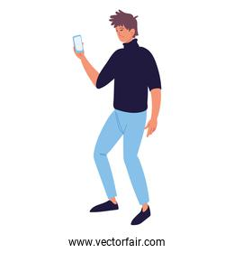 man standing with phone