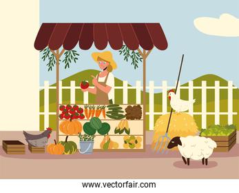 farmer girl with a organic products