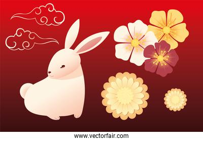 cute rabbit with flowers