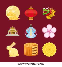 traditional chinese icons set