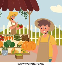 farmers with organic market