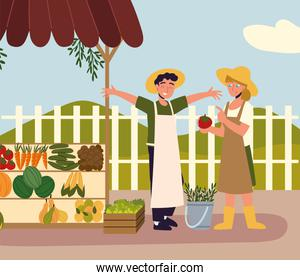 happy farmers with local market