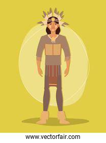 tribal warrior in traditional costume