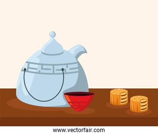 chinese teapot and mooncake
