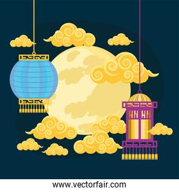 chinese lamps and moon
