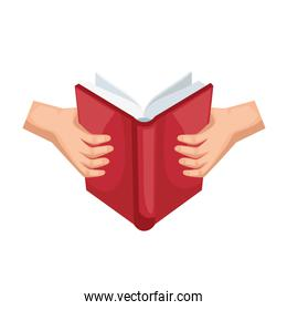 hands hold book