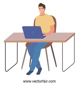 male working at the computer