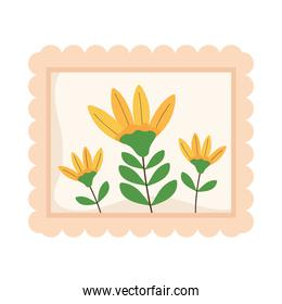 postcard stamp with flowers