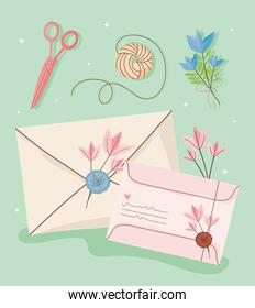 icons mail letters and postage stamp
