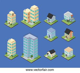 isometric houses and apartments