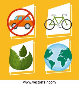 four car free day icons