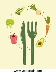 vegetables and cutlery food