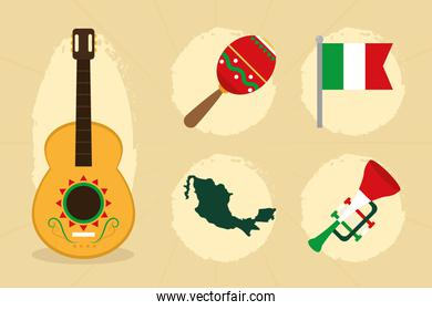 Guitar and mexico icons