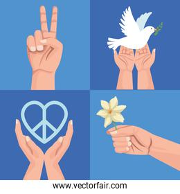 four peace icons
