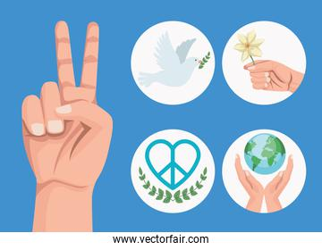 five peace icons
