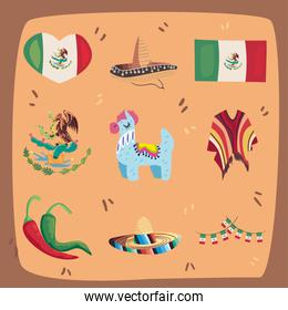 nine mexican independence day icons