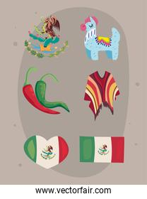 six mexican independence day icons