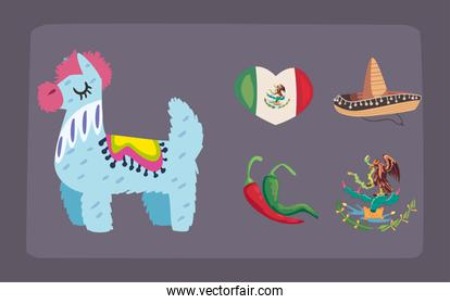 five mexican independence day icons