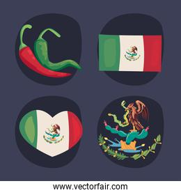 four mexican independence day icons