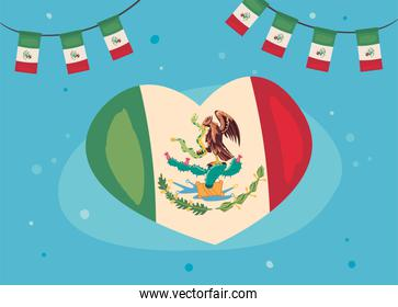 mexican flag in heart