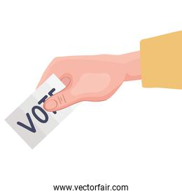 hand with ballot paper