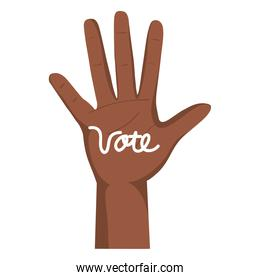 hand with vote lettering