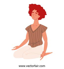 woman meditating and concentrated