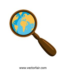 world map in a magnifier
