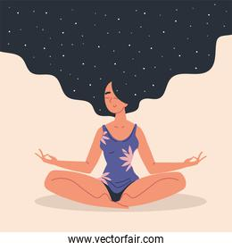 woman relaxing and meditating