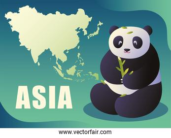 map of asia and panda