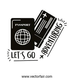 travel lettering with passport