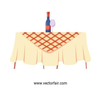 picnic table with drinks