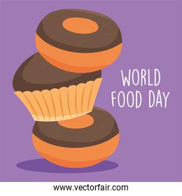 world food day illustration with donuts
