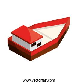 red boat isometric