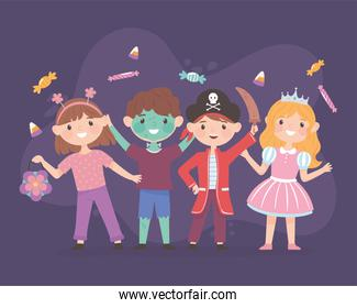 happy kids with costumes