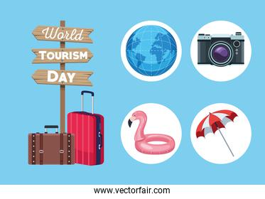five tourism day icons