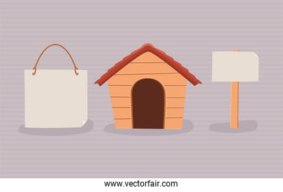 doghouse and signboards