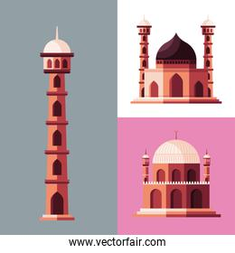 muslim tower and mosques