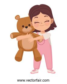 girl playing with teddy