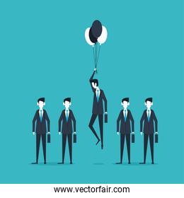 businessmen standing and flying