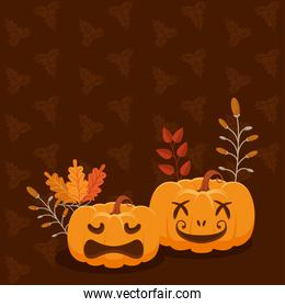 pumpkins and leafs pattern
