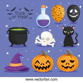 Trick or treat halloween symbol collection