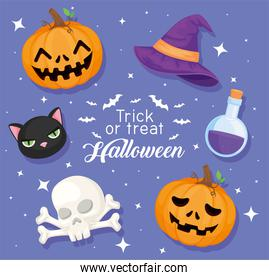 Trick or treat halloween icons