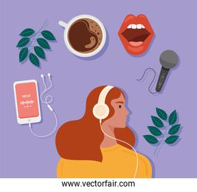 Woman listening podcast with icons