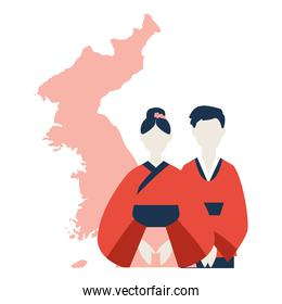 korean people and map